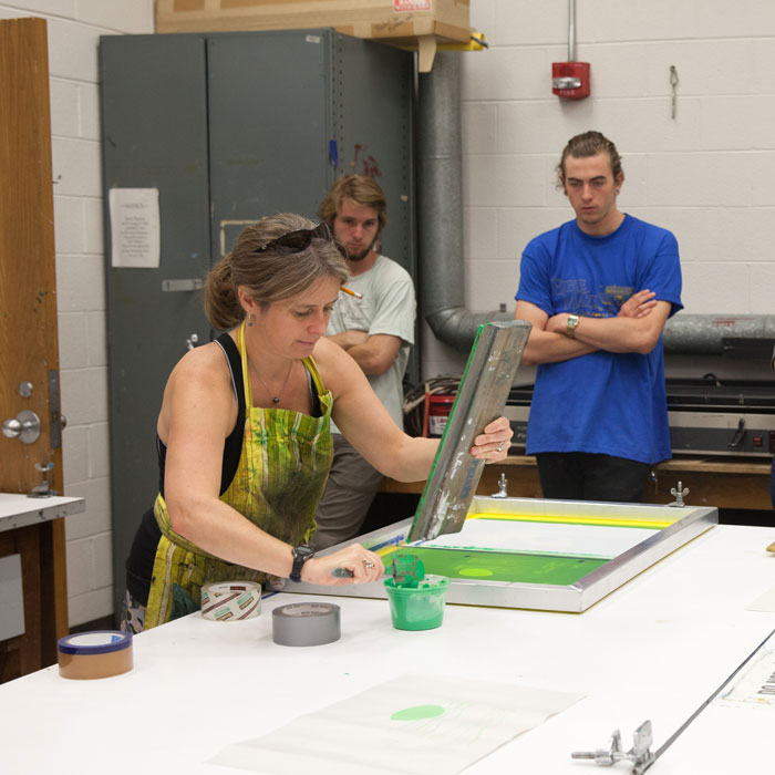 April Flanders leads a printmaking demo