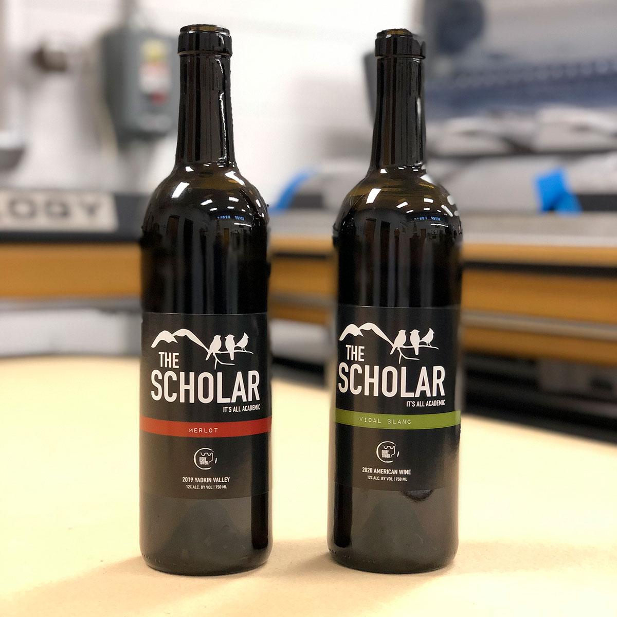 The Scholar: Merlot and Vidal Blanc product labels
