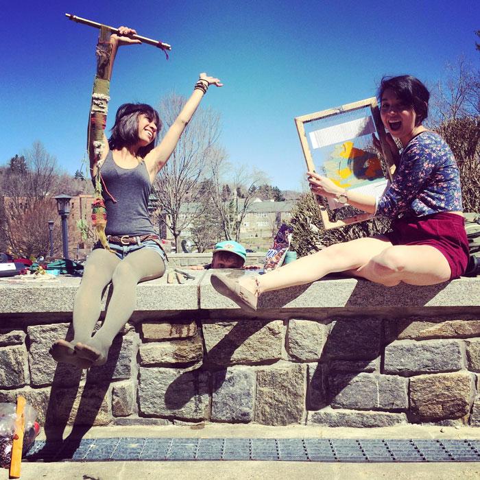 Studio Art students working outside