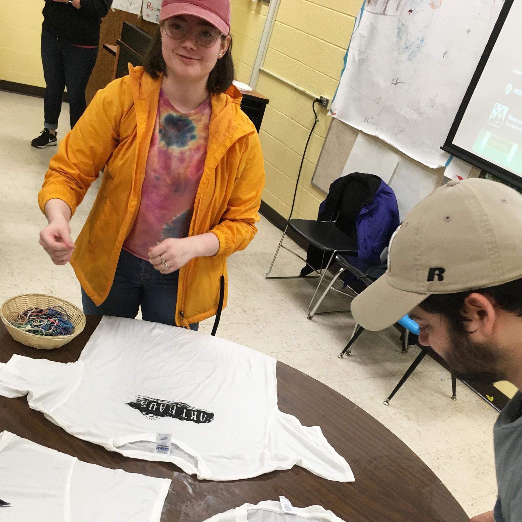 Art Haus residents preparing tie dye shirts