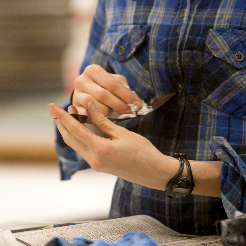 Printmaking student prepares plate