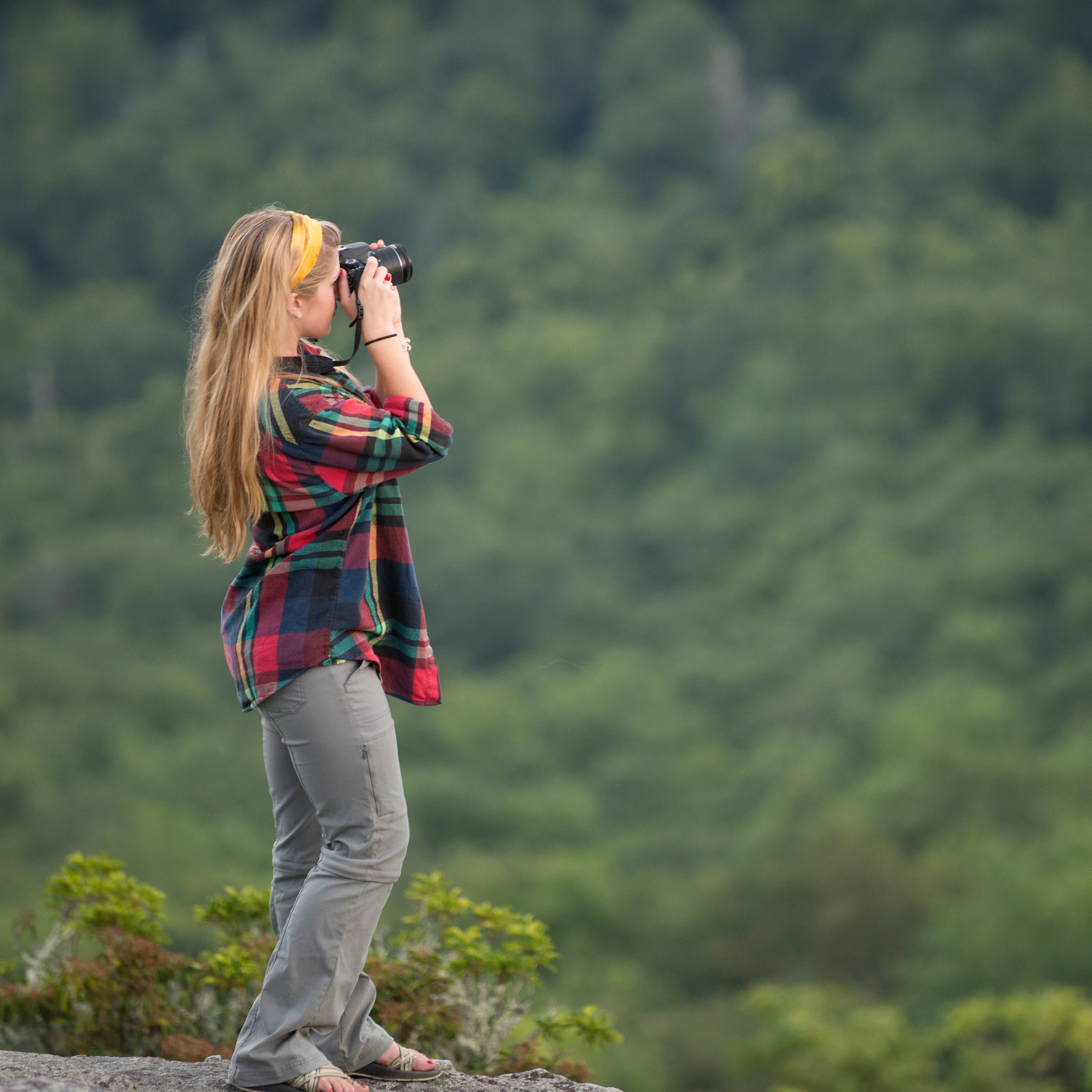 Photo of student photographing mountain
