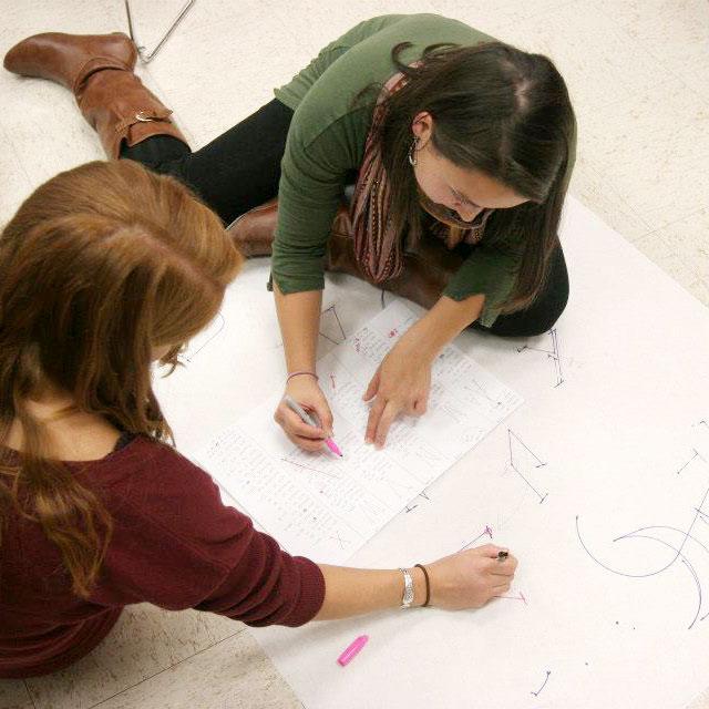 Photo of students designing type