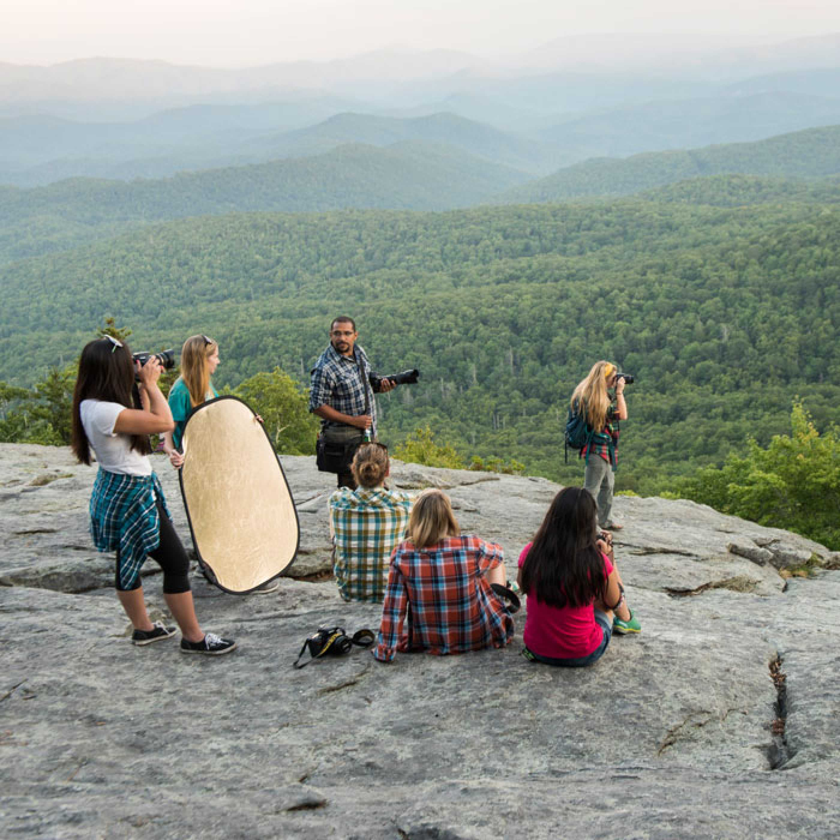 Andrew Caldwell and students on a location photo shoot