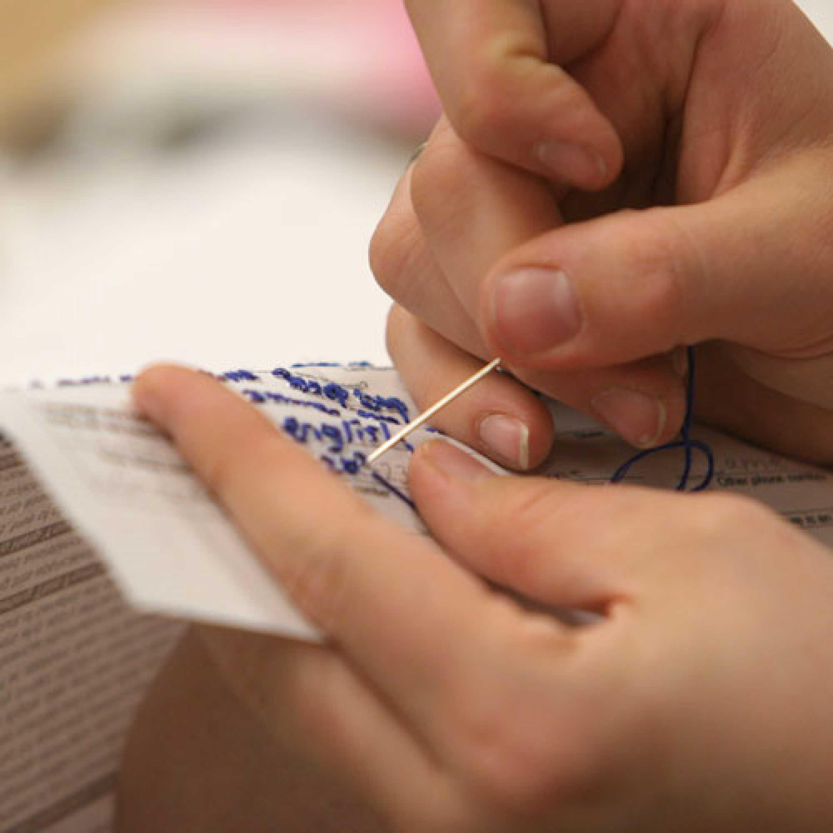 Fibers student sewing