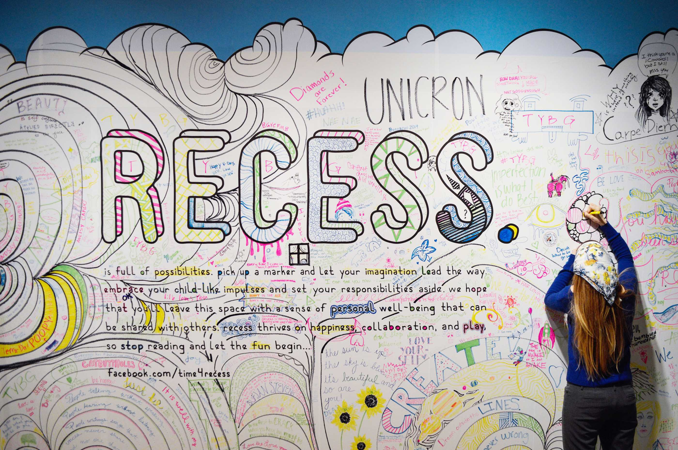 Student drawing on Recess exhibition wall