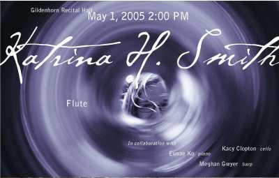 Flute recital promotional postcard for Katrina Smith