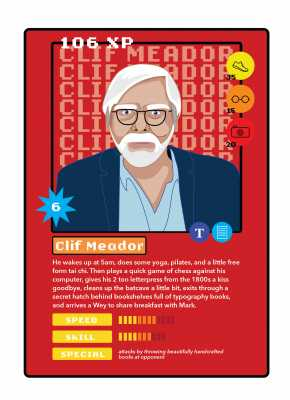 Faculty trading card based on imagined routines