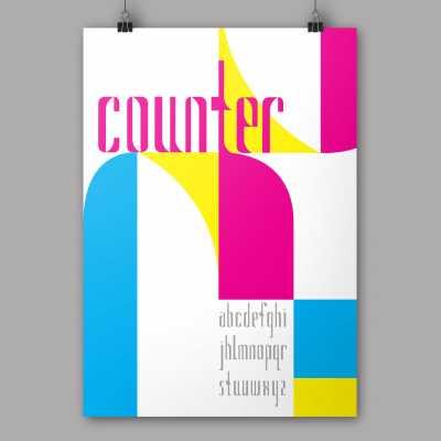 Counter modular typeface