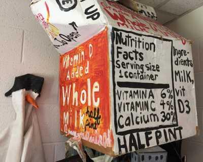 Milk carton costume in Vicky Grube's office