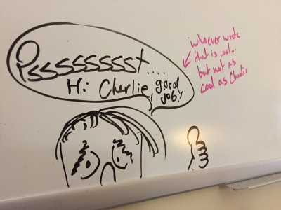 White board in Charlie Combs' office