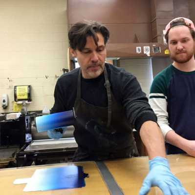 Scott Ludwig in printmaking demo
