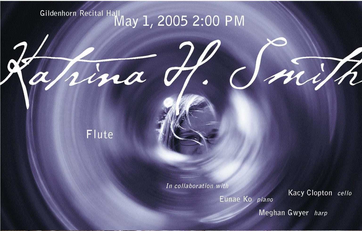 Flute recital promotional postcard for Katrina Smith