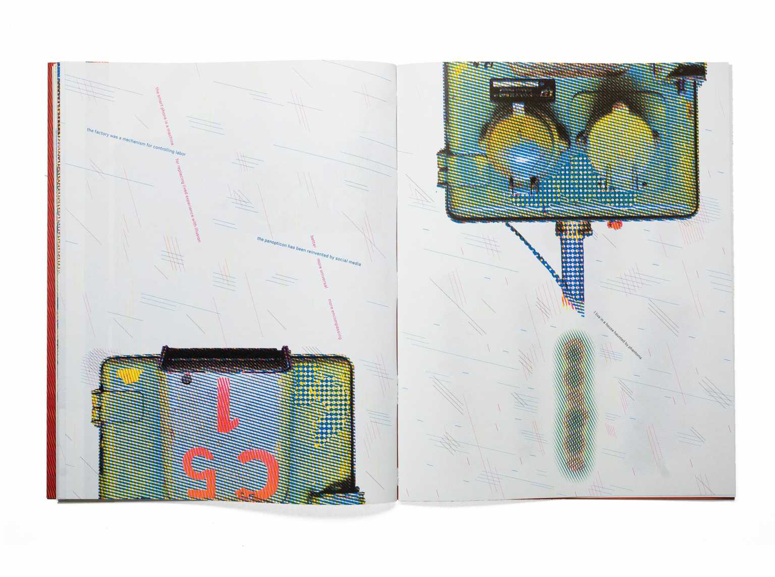 Page spread from artist's book Control Mechanism, 2020, Offset lithographed in fluorescent colors, 56 pages