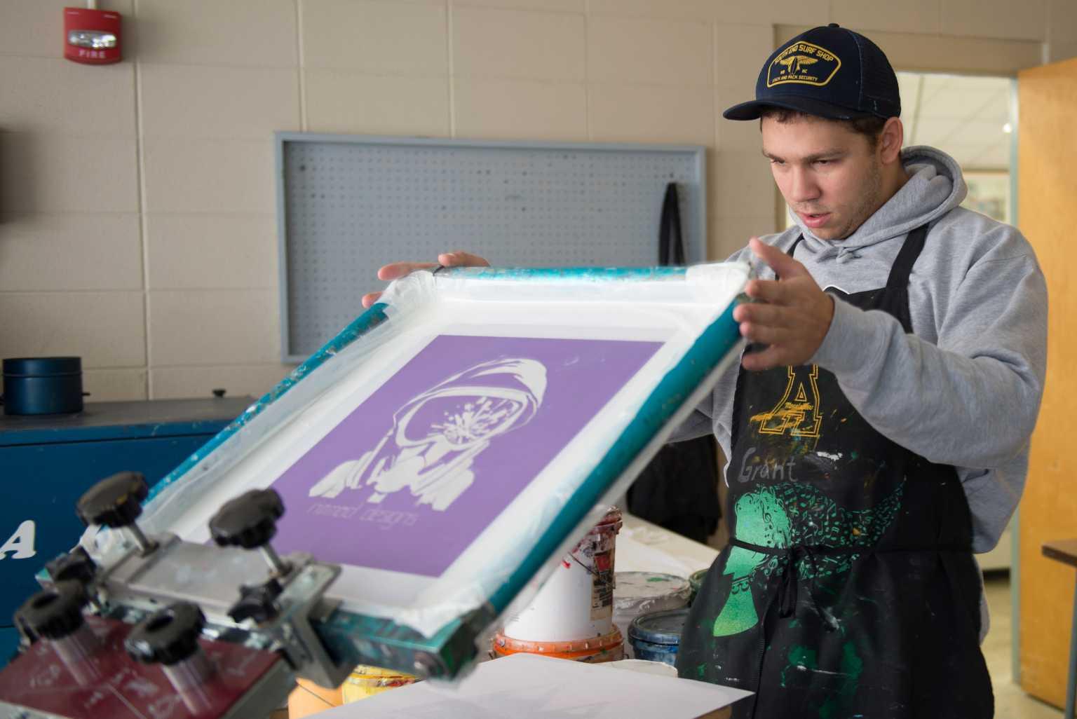 Student silkscreening