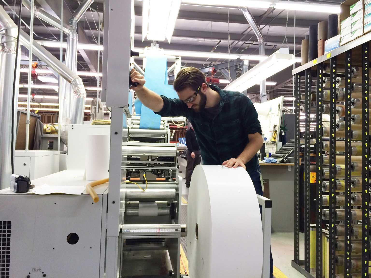 GCM student loading flexography press