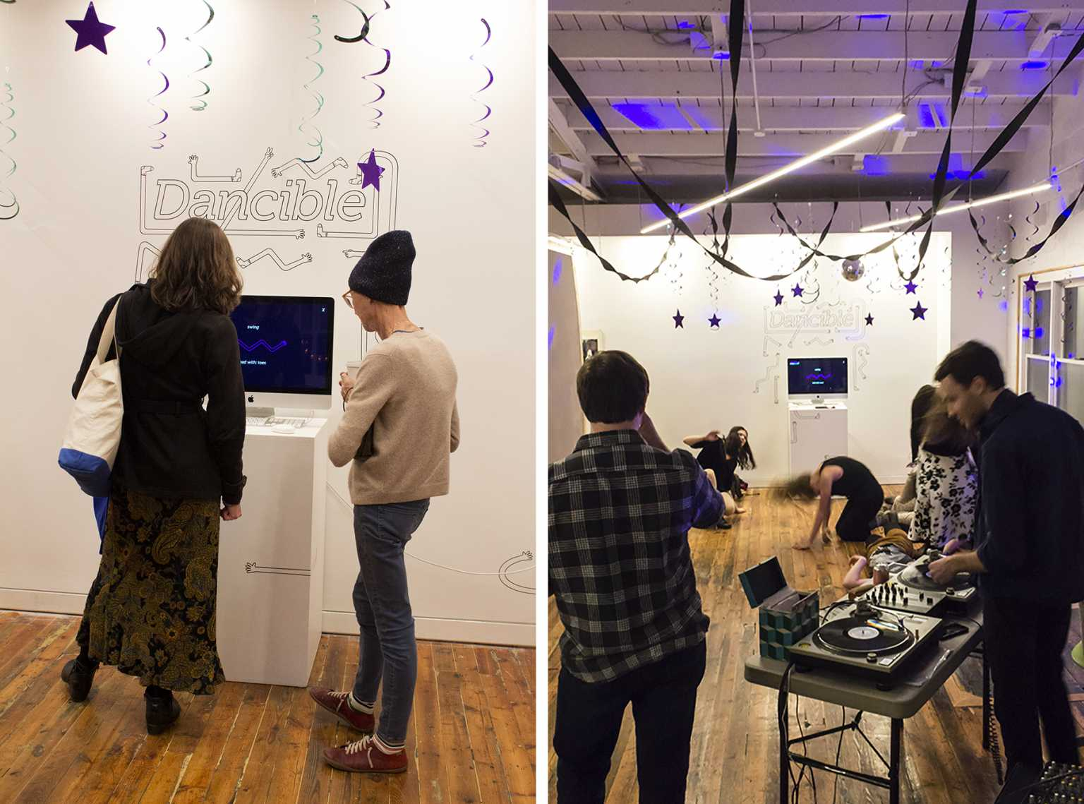 Installation view of Dancible, an interactive game to teach basic dance moves