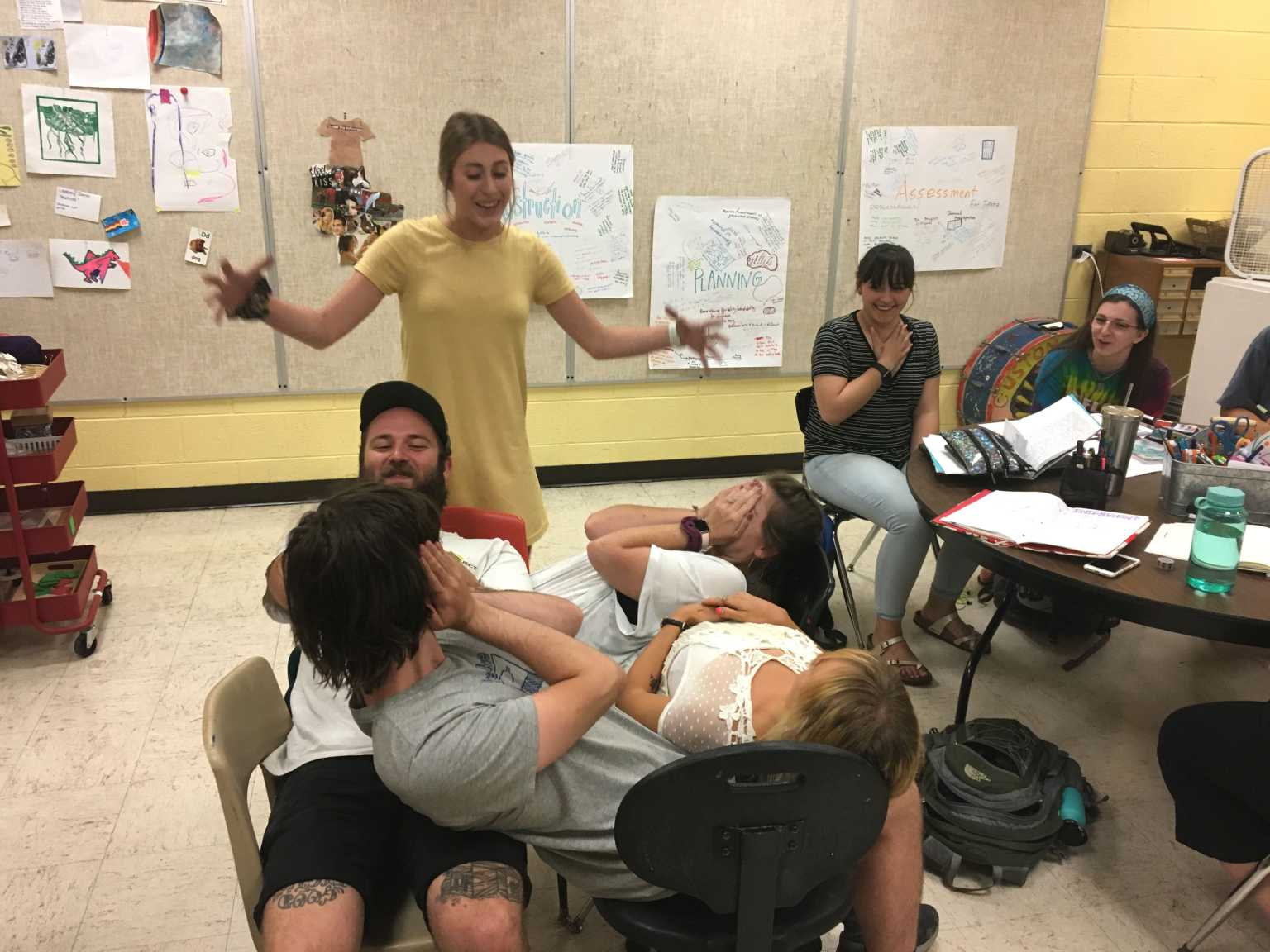 """Intro Art Ed. students listening and participating in teamwork activities during their """"Teach Anything"""" projects ."""