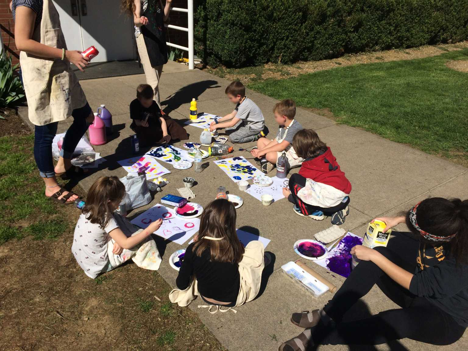 Elementary Ed. students work with young people to create environmental artwork with recycled materials through the Kaleidoscope afterschool program.