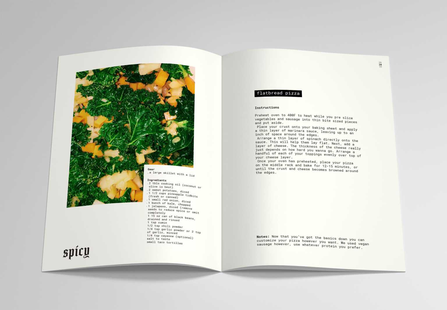 Spread from Roasted, a cookbook/zine with contributions from students