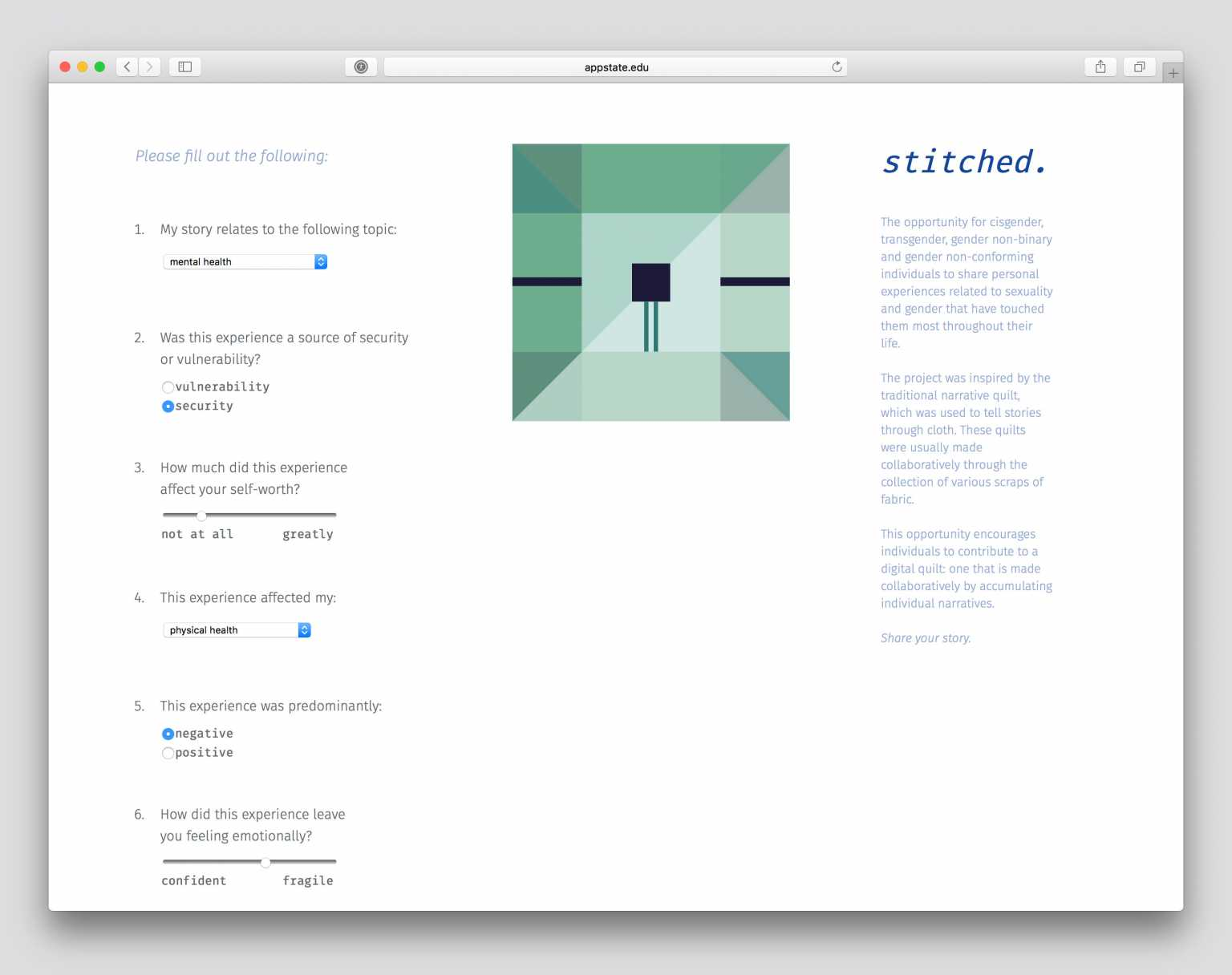Stitched, a web-based, interactive experience inspired by the notion of touch and the narrative quilt