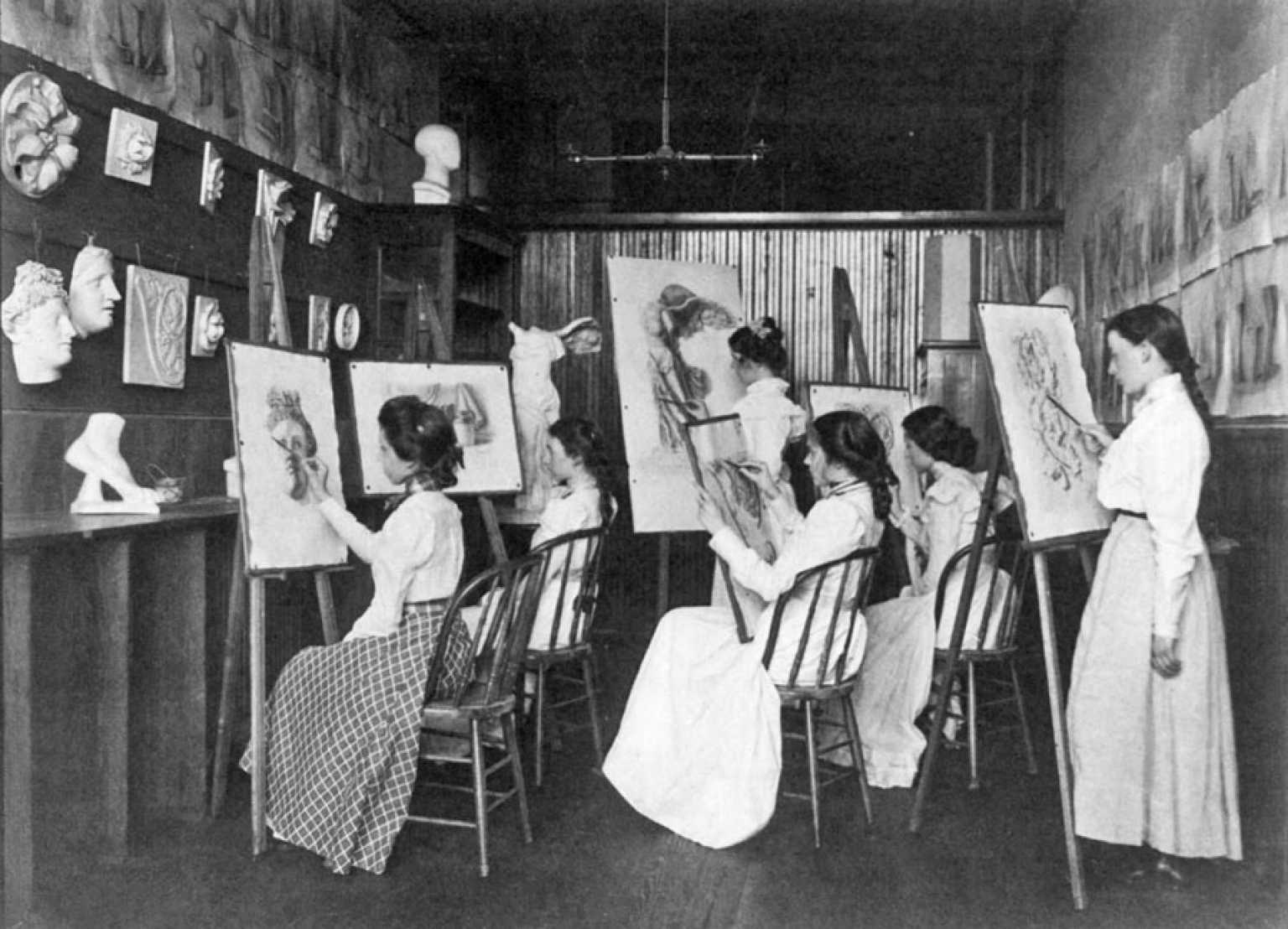 Frances Benjamin Johnston - 6 Girls in Art Class, Drawing at Easels, Eastern High School, Washington D.C 1899