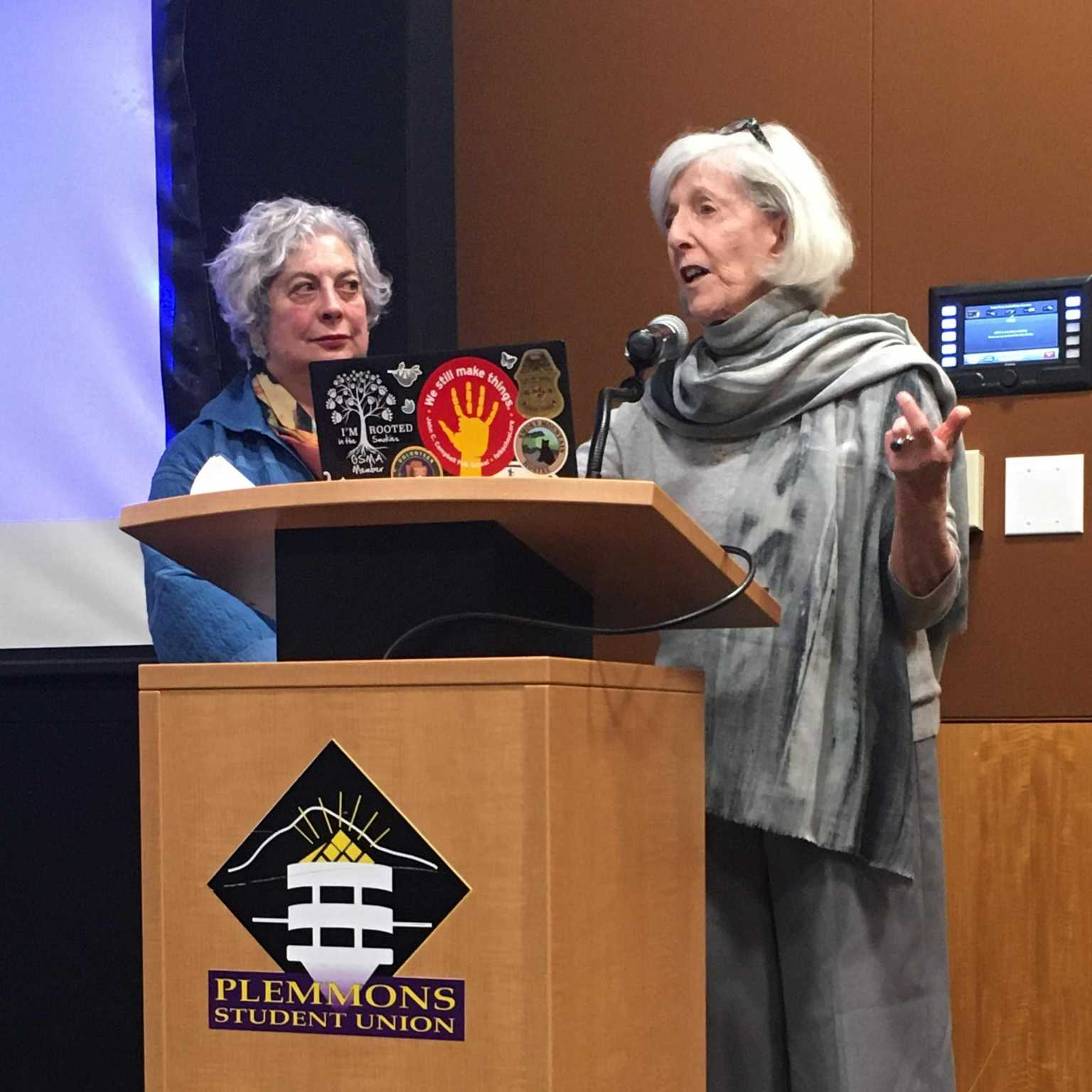 Ferris Olin (left) and Judith Brodsky (right) in their joint public lecture