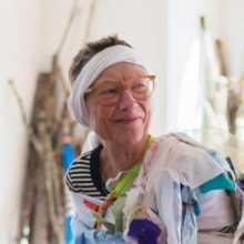 Vicky Grube enwrapped in Brooke Hofsess's workshop