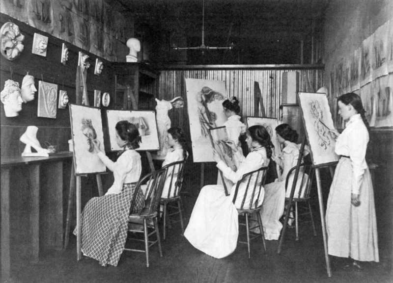 Frances Benjamin Johnston - 6 Girls in Art Class, Drawing at Easels, Eastern High School, Washington D.C 1899